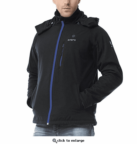 Ororo Men's Heated Jacket with Detachable Hood and Battery Pack