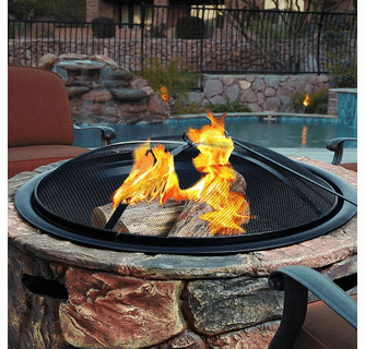 "Sun Joe 35"" Cast Stone Base, Wood Burning Fire Pit w/Dome Screen and Poker - Large Stone"