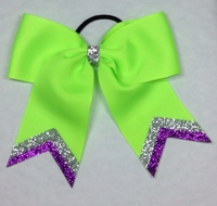"""5 1/2"""" Lime Green With Silver and Purple Glitter Tips"""