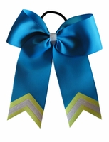 5.5 Inch Electric Blue and Florescent Yellow Bow