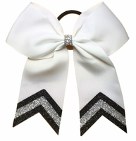 5.5 Inch White with Black and Silver Glitter Tips