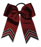 5.5 Maroon Double Silver and Black Glitter Tips