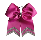 6.5 - 7 Inch New Fuschia Bow with Silver Glitter Tips