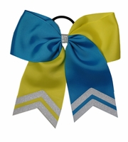 6.5 - 7 Inch Vivid Blue and Neon Yellow with Glitter Tips