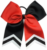 6.5 Black and Red Tic Toc Bow with Glitter Tips