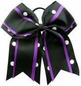 6.5 Black Purple with White Dots Sport Hair Bow DISCONTINUED