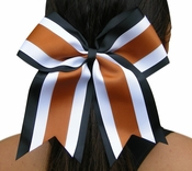 6.5 Black White and Texas Orange Sport Hair Bow