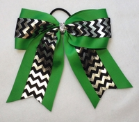 6.5 Emerald Green with Black and Silver Chevron Sport Hair Bow
