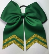 6.5 Forest Green with Glitter Gold Tails Sport Hair Bow