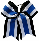 6.5 Inch Black White and Royal blue Sport Hair Bow