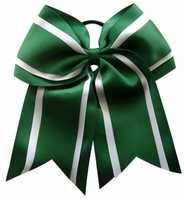 6.5 Inch Forest Green and White Sport Hair Bow