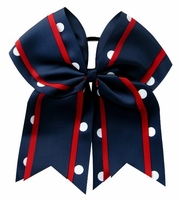 Clearance Item 6.5 Inch Navy Red with White Polka Dots Sport Hair Bow