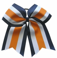 Clearance 6.5 Inch Navy White and Orange Sport Hair Bow