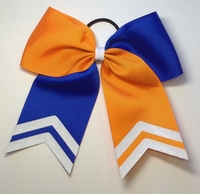 6.5 Inch Orange and Blue Sport Hair Bow