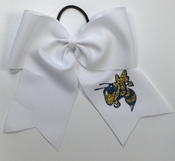 6.5 Inch White Sport Hair Bow with Mascot