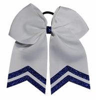 6.5 Inch wide White with BLue Glitter Tips