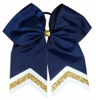 6.5 Navy with White and Old Gold Glitter Tips