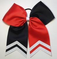 6.5 Inch Red and Black Sport Hair Bow