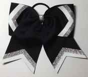 6 Inch Black Glitter Tip and Glitter Ear White With Silver