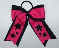 Black and Neon Hot Pink Stars Sport Bow