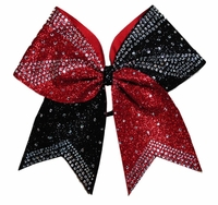 Black and Red Glitter Rhinestone Cheer Bow