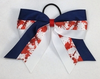 Blue and  White with Red Paint Splatter Sport Bow