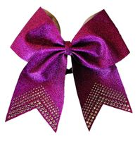 New Light Weight Purple Glitter Bow with Rhinestone Tips