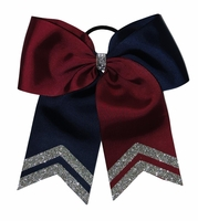 Bright Maroon and Navy with Glitter Tips