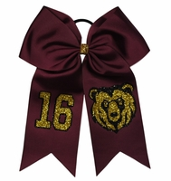 Grandby Bears Softball Bow with Number