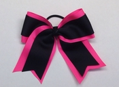 Neon Hot Pink with Black Elastic Hair Bow