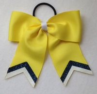Small Light Yellow with White and Slate Blue Glitter Tip Sport Hair Bow