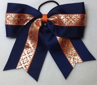 Navy and Orange with Silver Foil Sport Hair Bow