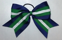 Navy Emerald Green and White Sport Hair Bows