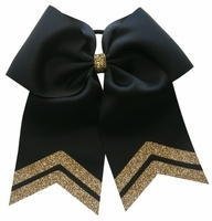 6.5 Inch Black with Old Gold Glitter Tip Sport Hair Bow