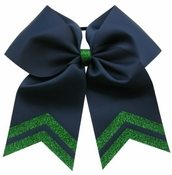 New 6.5 Inch Navy with Green Glitter Tip Sport Hair Bow