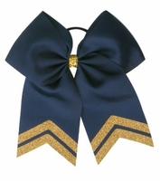 New 6.5 Inch Navy with Old Gold Glitter Tips