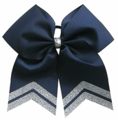 New 6.5 Inch Navy with Silver Glitter Tips