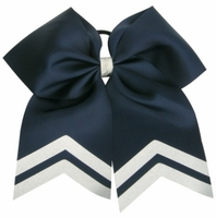 New 6.5 Inch Navy with White Glitter Tips Sport Hair Bow