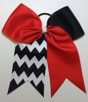 New 6.5 Inch Red and Black with glitter White Chevron Sport. Bow