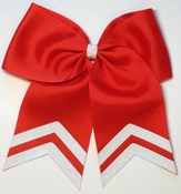 New 6.5 Inch wide Red with White Glitter Tip Sport Hair Bow