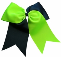 New 6.5 Navy and Lime Sport hair bow