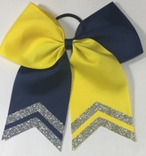 New 6.5 Navy and Yellow with Silver Glitter Tips