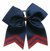 New 6.5 Navy with Red Glitter Tips