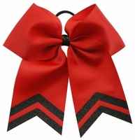 New 6.5 Red with Black Glitter Tip Sport Hair Bow