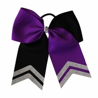 New 6.5 wide Purple and Black Bow with Silver Glitter Tips