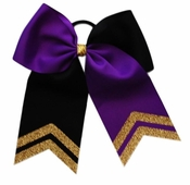 New 6.5 Wide Purple and Black with Old Gold Glitter Tips