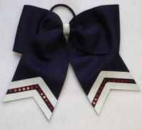 New 7 Inch Navy Blue with Glitter White and Red Sport Hair Bow