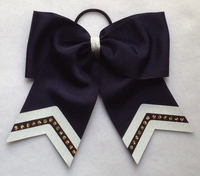 New 7 Inch Navy with Glitter White and Gold Sport Hair Bow