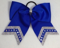 New 7 Inch Royal Blue with Silver Glitter and Bling Stars
