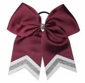 New Burgundy 6.5 Inch Sport Hair Bow with White and Silver Glitter Tips